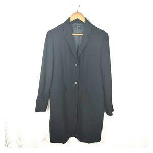 Zara Woman Black Masculine Long Wool Coat Sz 12